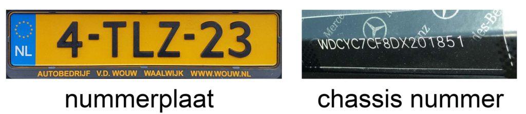 chassisnummer en nummerplaat