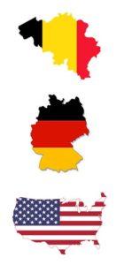 Duitsland België en de VS vlaggen